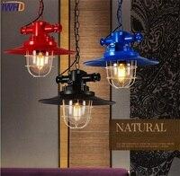 Iwhd Ретро Освещение в помещении кулон светодиодные фонари творческий железной клетке абажур Лофт Стиль светильники для Спальня Lamparas edison