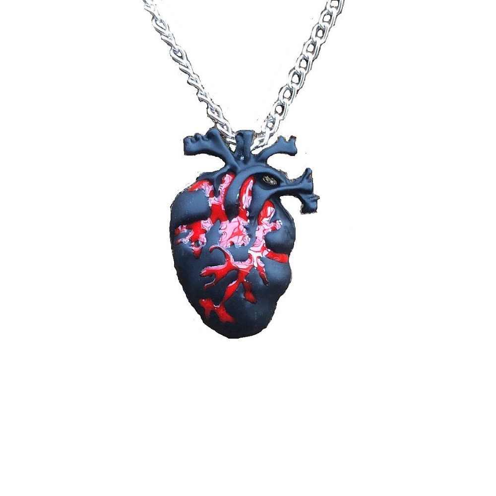 Czarny krwawy czerwony anatomiczny naszyjnik serce miłość Horror Alterantive Gothic anatomia czarny naszyjnik w kształcie serca