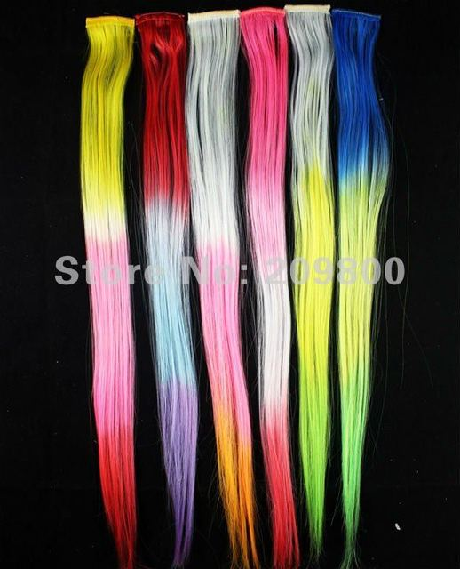 FREE SHIIPING 6pcs/set 16'' long pretty clip on Gradient Ombre Style fashion  feather Synthetic Hair Extension