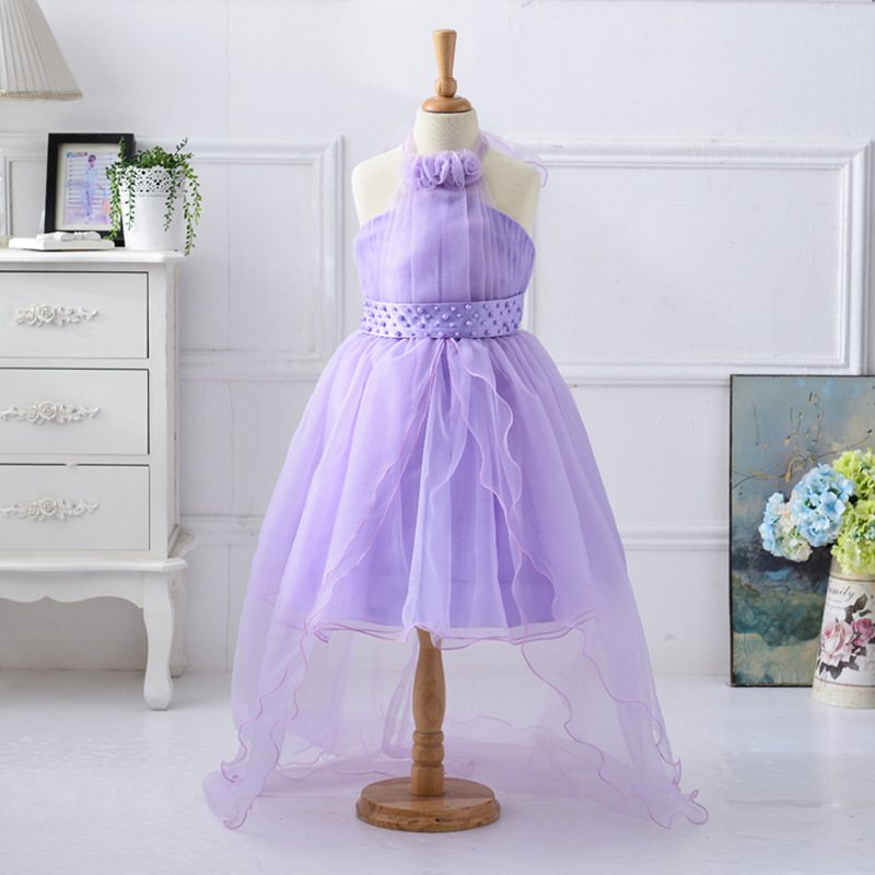 Flower Girls Dress 2017 New Hanging Neck Girl  Wedding Dress Children Clothing European Style Fishtail Girl Party Dress 2-13 Age