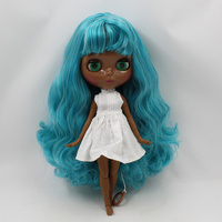 Blyth nude doll Dark black skin joint body blue mix gray hair with bangs 30cm fashion blyth doll toys for sale