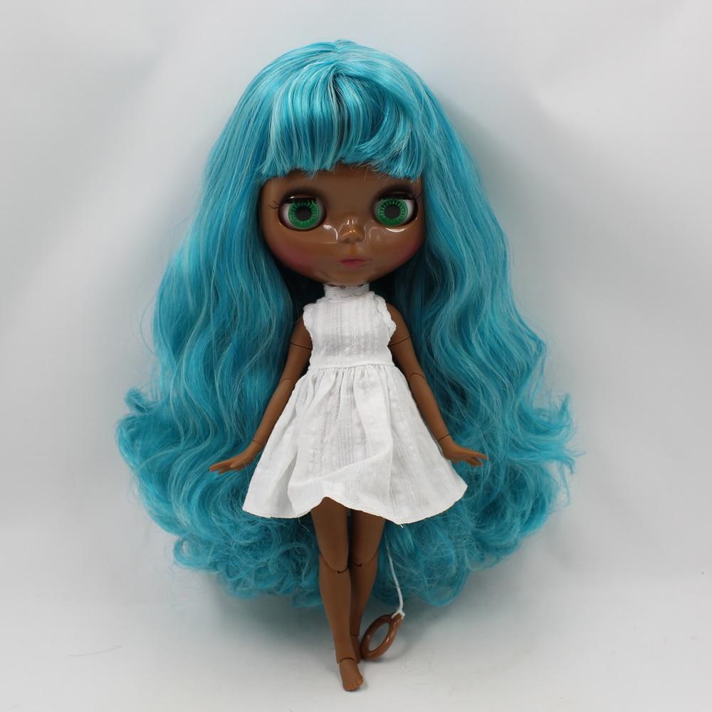 Blyth nude doll Dark black skin joint body blue mix gray hair with bangs 30cm fashion blyth doll toys for saleBlyth nude doll Dark black skin joint body blue mix gray hair with bangs 30cm fashion blyth doll toys for sale