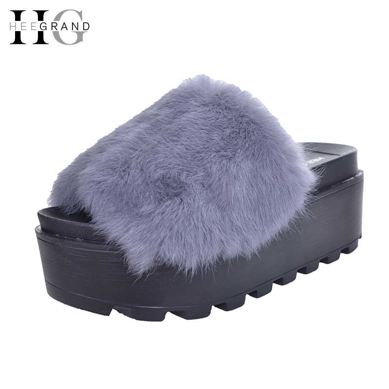 HEE GRAND Platform Slippers Women Shoes Fur Creepers Wedges Slides Beach Flip Flops Soft Slip On  Shoes Woman  XWM130