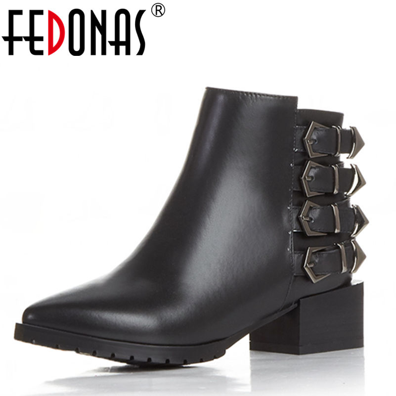 FEDONAS Genuine Leather Women Martin Boots Autumn Winter Warm Shoes Botas Feminina Female Motorcycle Ankle Fashion Boots Women children s shoes autumn winter kids martin boots girls fashion leather boots boys motorcycle boots shoes child warming shoes
