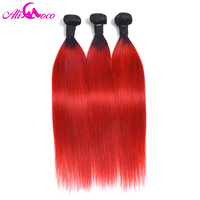Ali Coco Brazilian Straight 1B/Red Color Human Hair Weave Extensions 1/3/4 Bundles 12 28 Inch 100% Remy Hair Free Shipping