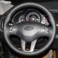 Блестящий чехол на руль из черной кожи  прошитый вручную  для Kia Sportage 3 2011-2014 Kia Ceed 2010
