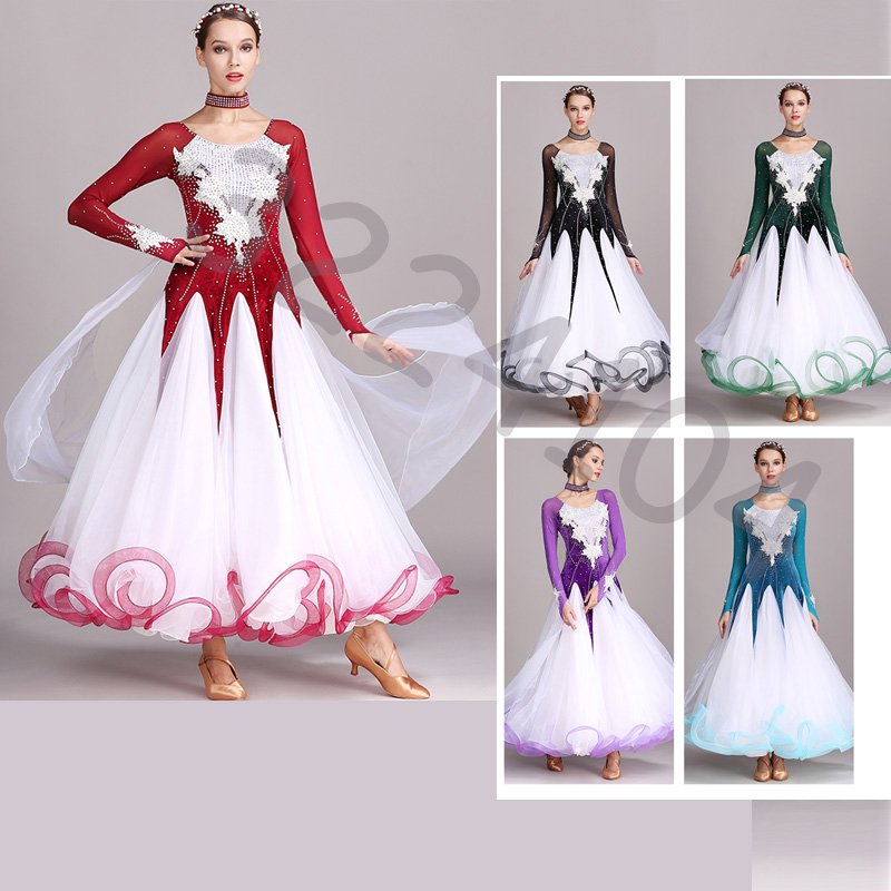 2017 new professional rhinestone ballroom dance costume water flowers Modern Dance Dress for women high quality free shipping