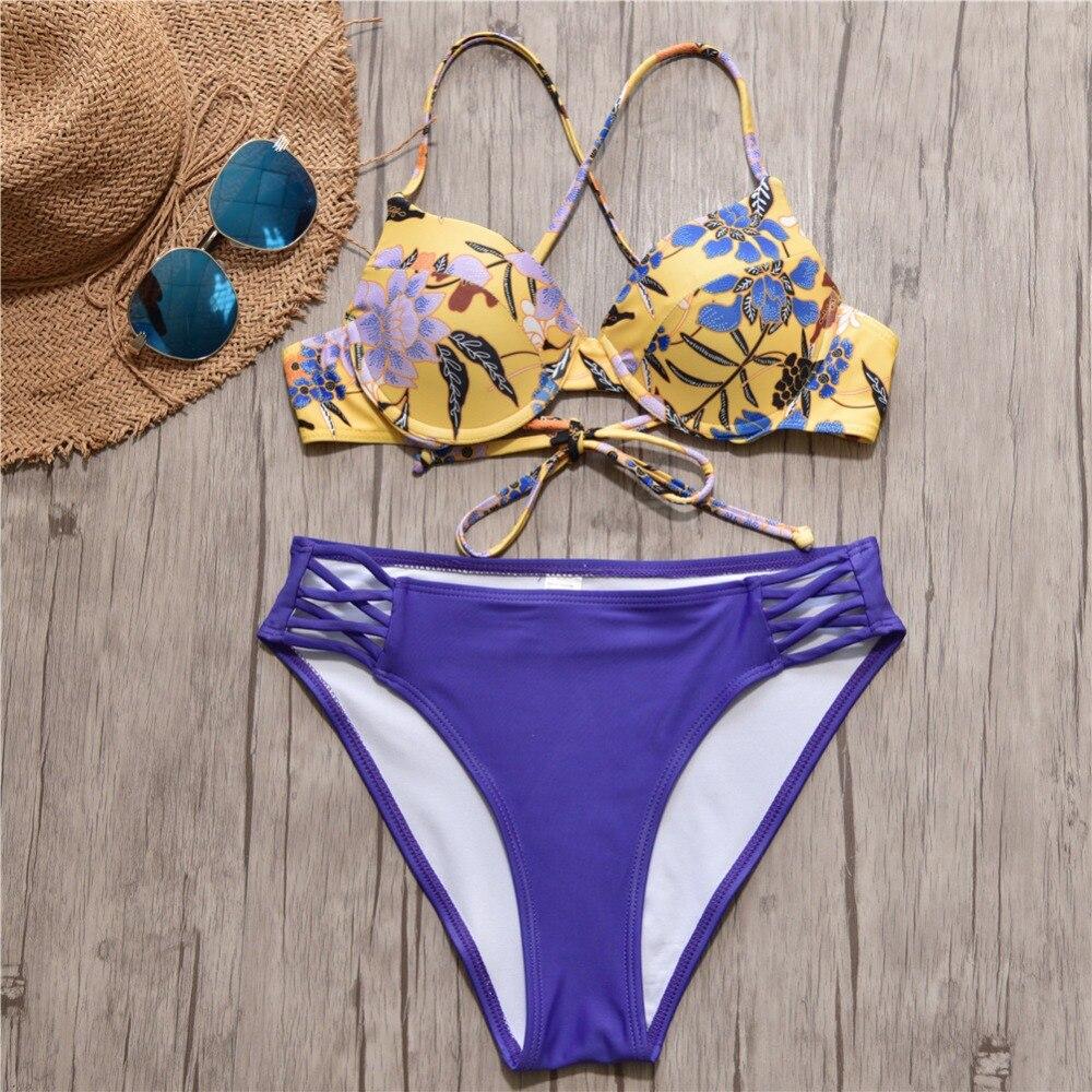 2019 bikini brasileño Bandage Bikini mujer traje de baño de cintura alta Sexy push up Bikini conjunto de mujeres Swimsuits talla grande biquini