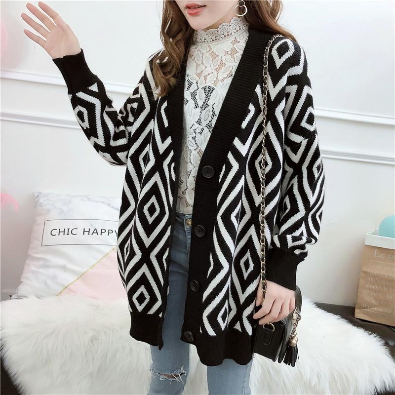 Sweaterwomen's Autumn And Winter New Style Of Retro Loose Diamond Knitted Cardigan