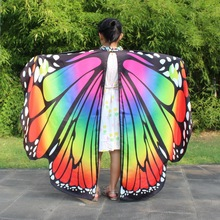 Girls Butterfly Wings Dancing Halter Cape Kids Belly Dance Opening Split Wing Festival Wear Children Coat Scarf Shawl Wrap Gift цена 2017