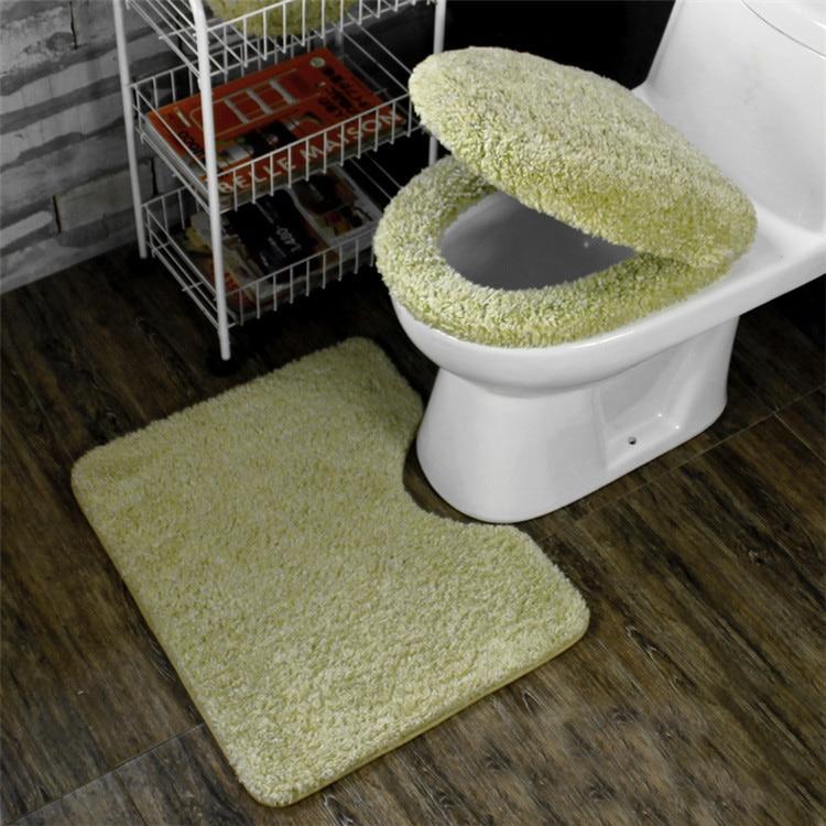 Winter Bathroom Seat Warmer Coral Fleece Carpet Toilet