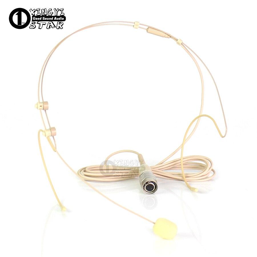 Beige 4 Pins Hirose Plug Headworn Mic Earset Headset Microphone For Audio Technica Wireless Bodypack AEW 4000a T1000a 5000a 5000