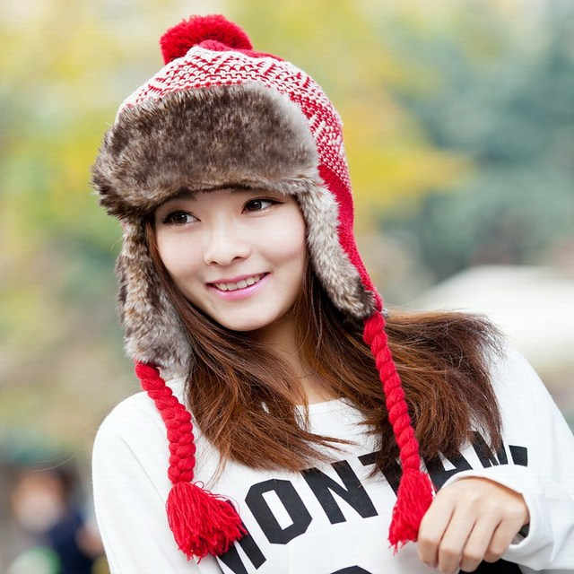 Hat female winter faux fur cap thermal winter hats ear protector cap knitted hat women's cold winter full protector bomber hats