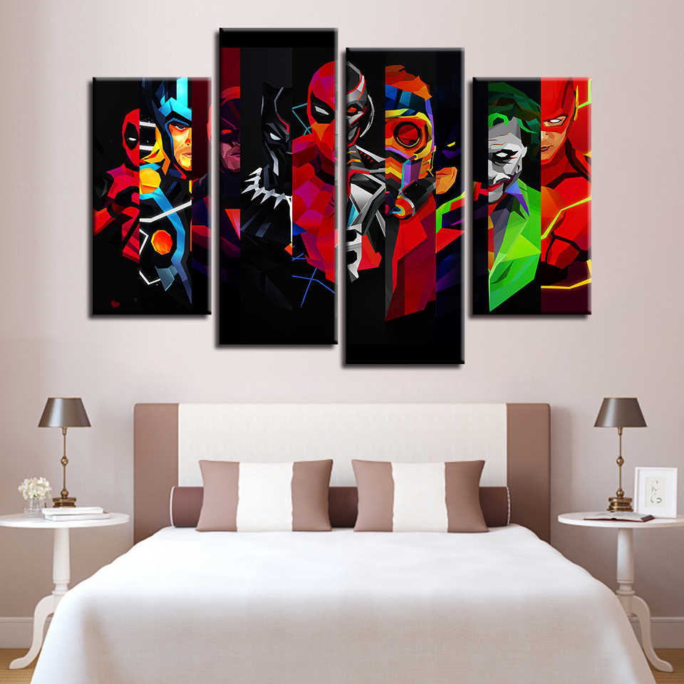Canvas HD Prints Painting Wall Art Home Decor Color Abstract Movie Characters Pictures For Living Room Deadpool Poster Framework