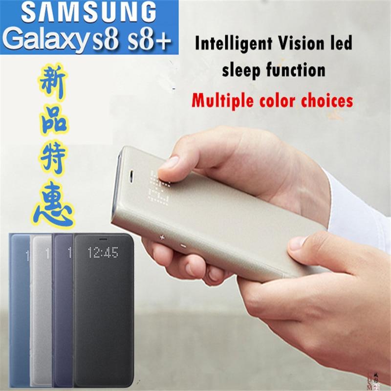 imágenes para Original Samsung Galaxy S8 S8 Más Vista Cubierta del Tirón de la Carpeta Del Caso la función del sueño Inteligente LED pantalla en función de despertador Automático