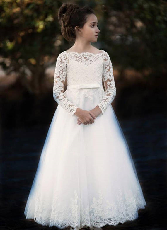 Ivory off the shoulder elegant lace formal communion dress floor length long sleeves A-line flower girl dresses for wedding pink lace details backless off the shoulder long sleeves mini dress