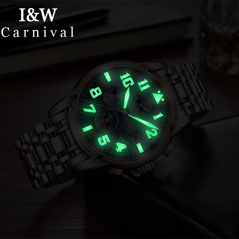 I&W Luminous Automatic Watch Men Clock Carnival Mechanical Watches Business Waterproof Moon Phase Mens Wristwatch montre homme