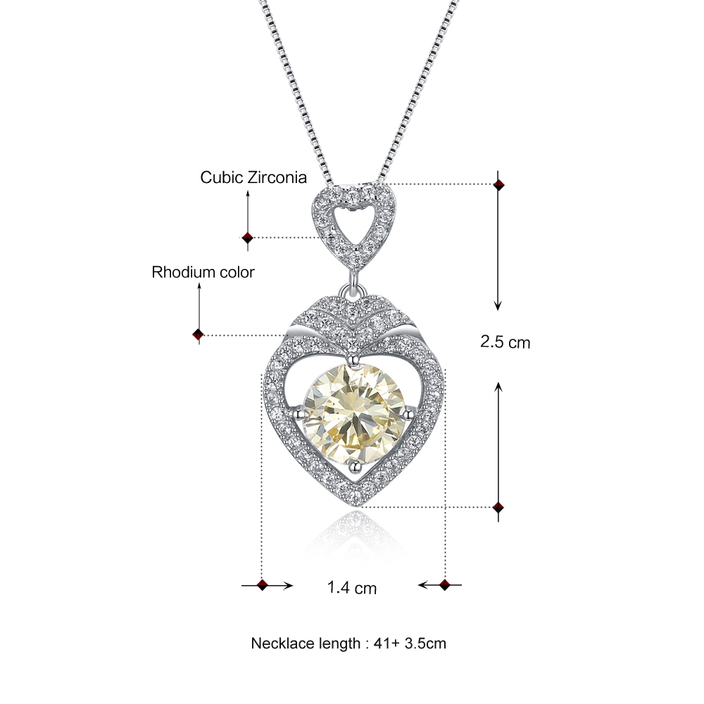 Tri Colour Heart Cubic Zirconia 925 Sterling Silver Necklace and Earrings Set