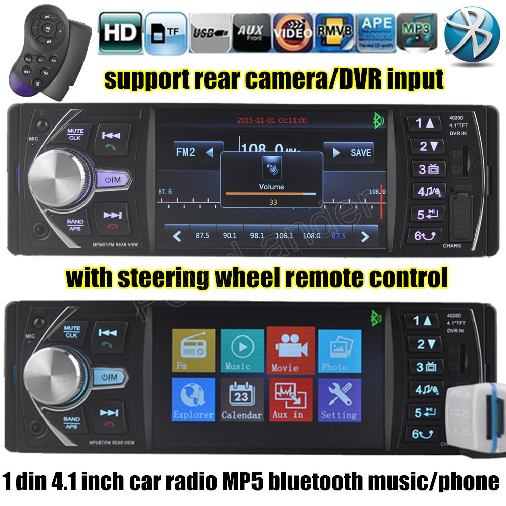 1 din 4.1 inch FM Car Radio 12V Bluetooth Audio Stereo TF MP3 Player AUX USB with steering wheel remote control DVR input