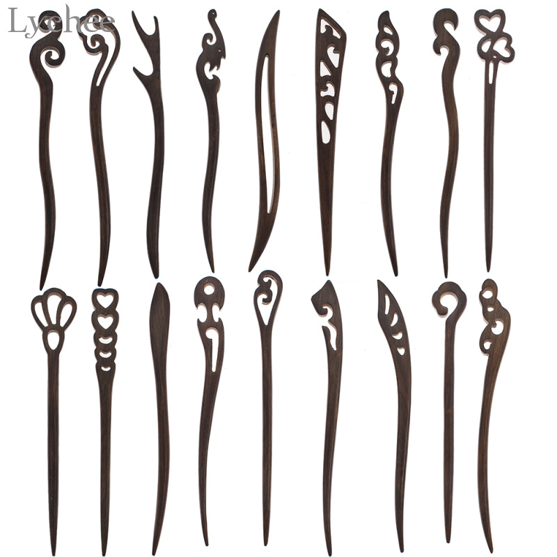Handmade Stick Hairpin Black Vintage Carved Hair Pin Wooden Ebony