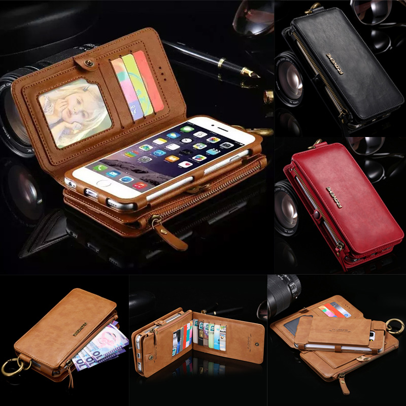 bilder für Floveme Retro Gefaltete Brieftasche Fällen für iPhone 6 6 S 7 Plus 2 in 1 Leder Abdeckung Für iphone6 Ursprüngliche Marke Schlag-standplatz Metallschnalle