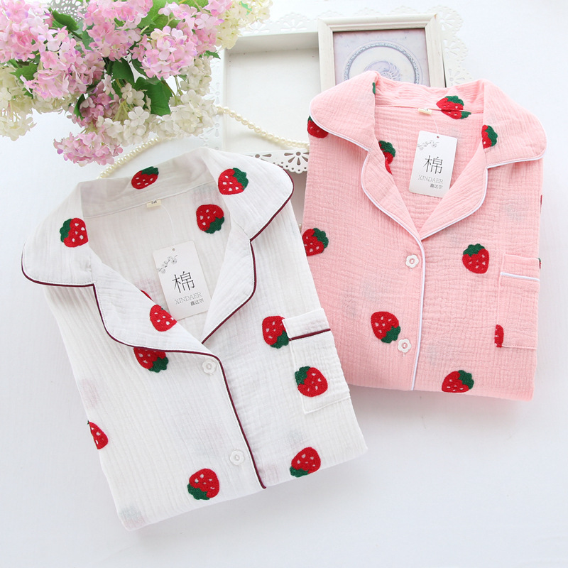 Crepe Cotton Gauze Pajama Set Embroidered Strawberry Pyjamas Women Long Sleeve Trousers Pijama Spring Sleepwear Sexy Pajamas