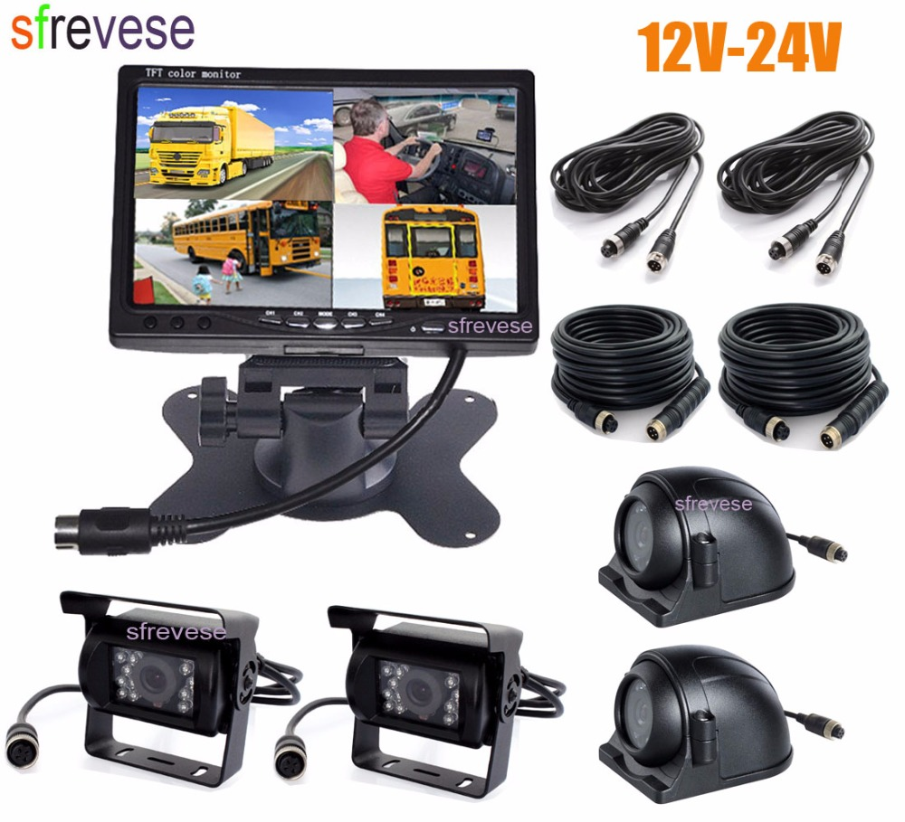 7 dual display built in quad combination lcd car monitor 4ch video input style parking dashboard for truck car rear view camera 4x 4Pin IR Car Front Side Rear View Reversing Backup Parking Camera+ 7 LCD 1/2/3/4CH Quad Split Monitor for Bus Truck Motorhome