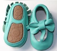 2017 New Genuine Leather Baby Moccasins Shoes T Bar Hard Rubber Sole Bow Baby Shoes Newborn