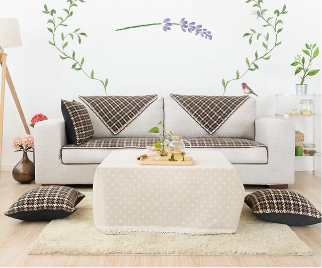Cotton Plaid Sofa Cover Towel Sectinal Slipcover Couch Sofa Cover Anti Slip  Single Seat