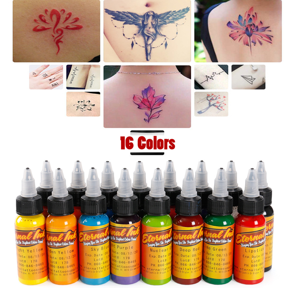 30ml/bottle tattoo ink set permanent makeup art pigment 16PCS cosmetic tattoo paint for eyebrow eyeliner lip body Body makeup 35000r import permanent makeup machine best tattoo makeup eyebrow lips machine pen