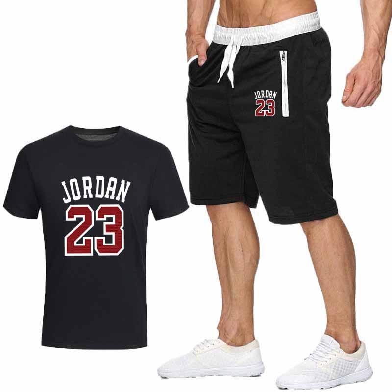 Two Piece Set Men Outfits Jordan 23 T-shirt Shorts Summer Short Set Tracksuit Men Sport Suit Jogging Sweatsuit Basketball Jersey