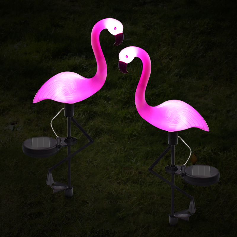 Solar powered flamingo lawn lamp garden decor solar lights - Decorative garden lights solar powered ...