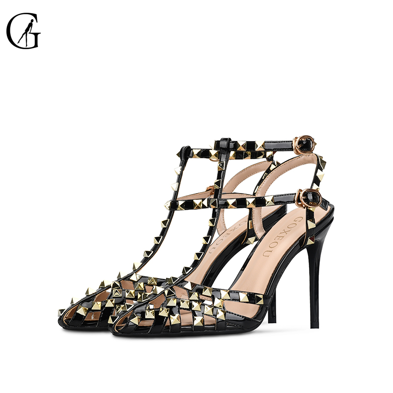GOXEOU 2019 New Style Women Sandals Size 34 46 Thin High Heels Sexy Patent Leather Rivet