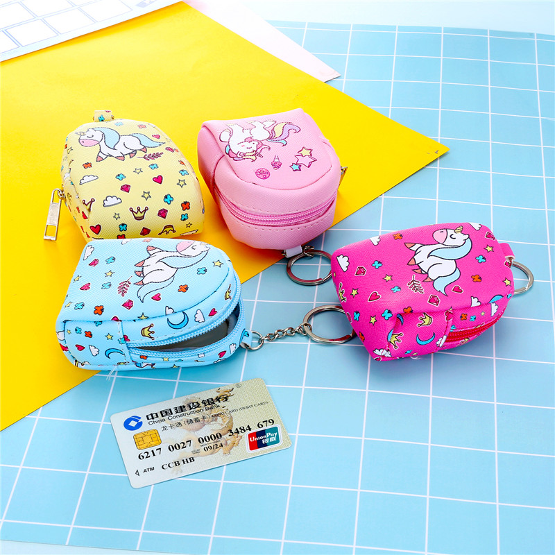 mini backpack coin purse and wallets for girls children purse kids card holder leather unicorn woman wallet cute kawaii bags