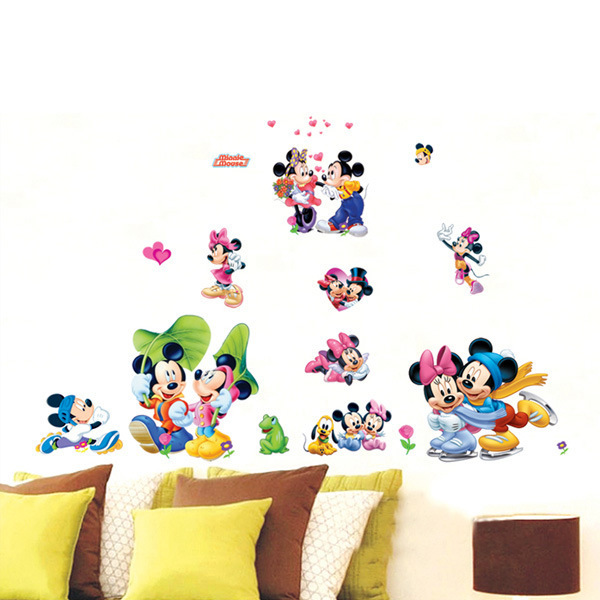 Aliexpress.com : Buy Mickey Mouse And Minnie Mouse Sticker Removable Wall  Dimural Child Children Decoration Vinyl Wallpaper From Reliable Wallpaper  Tree ...