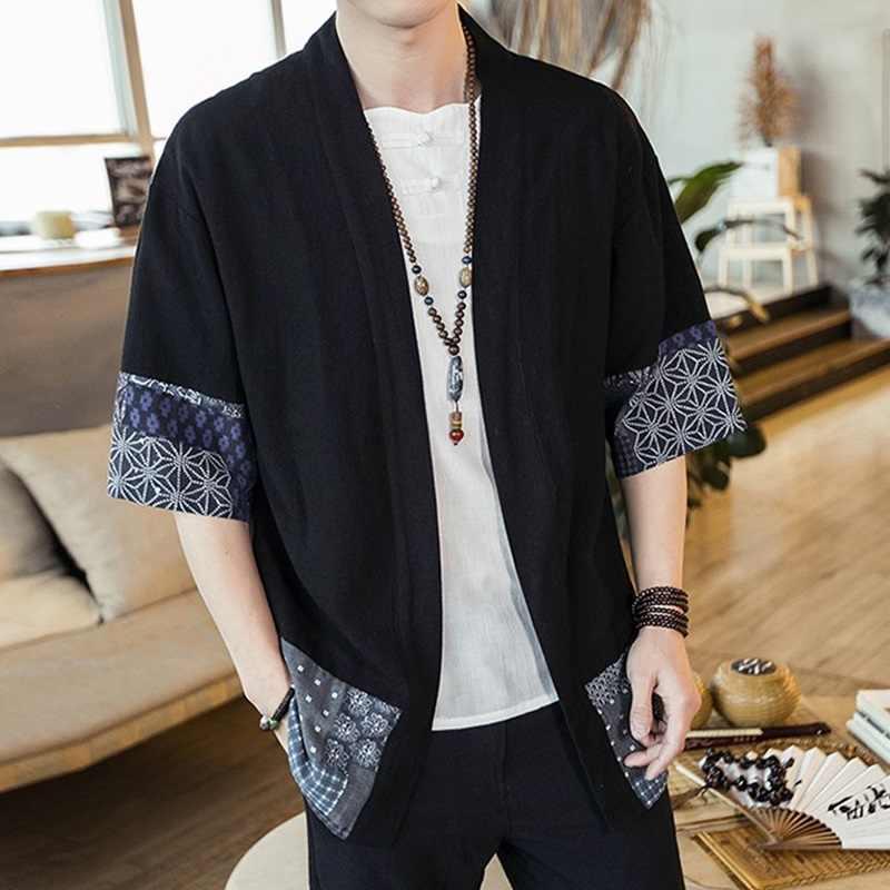 着物男性日本ストリート浴衣男性シャツ羽織メンズ着物シャツノースリーブ日本の着物の伝統的な衣服 DZ2005