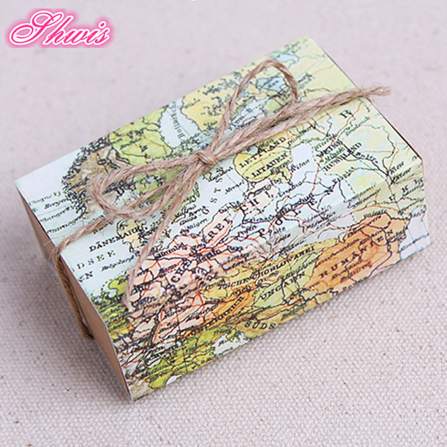Aliexpress buy 50pcslot world map design vintage favor box 50pcslot world map design vintage favor box wedding candy box baby shower favors boxchocolate gumiabroncs Images