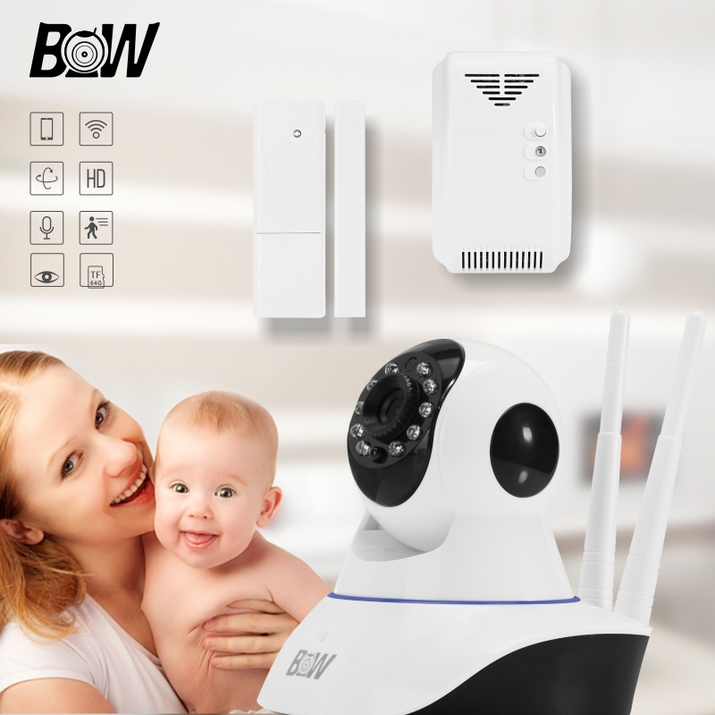 BW Security WiFi IP Camera 720P HD Baby Monitor + Door Sensor + Gas Detector Wireless Camera Onvif IR-Cut Night Vision bw wireless wifi door