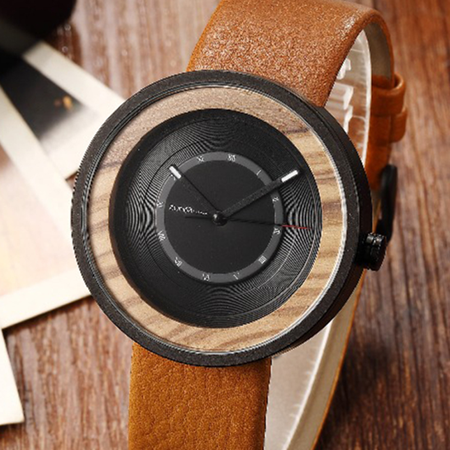 Mens Wood Watch Walnut Rosewood Wristwatch Male Bamboo Quartz Wooden Circle Watches Clock for Men Boyfriend Birthday Best Gifts wood