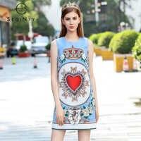 SEQINYY Retro Dress 2018 Summer New Woman Crown Nail Bead Diamonds Red Heart Flower Sleeveless Tank Fashion Mini Printed Dress