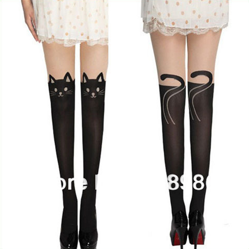 2017 New Design Fashion 60 Denier Sex Pantyhose Stockings Black Tattoo Cats Tights For Women