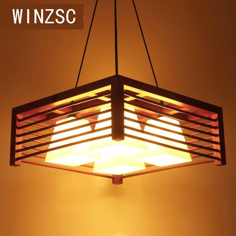 Современный китайский стиль люстра из цельного дерева Ресторан лампы творческий деревянные настольные лампы круговой простой люстра MZ152