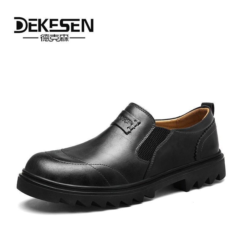 DEKESEN Autumn/ Spring New Genuine Leather Men Casual Shoe Deodorant Ventilation British business Flat Shoes For Men Oxfords dekesen new graffiti trendy sneakers shoes for men 100