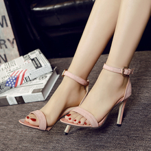 New summer women High heeled sandals peep Toe shoes Hollow vamp pump Suede Solid A word type strap free shiping size35-40
