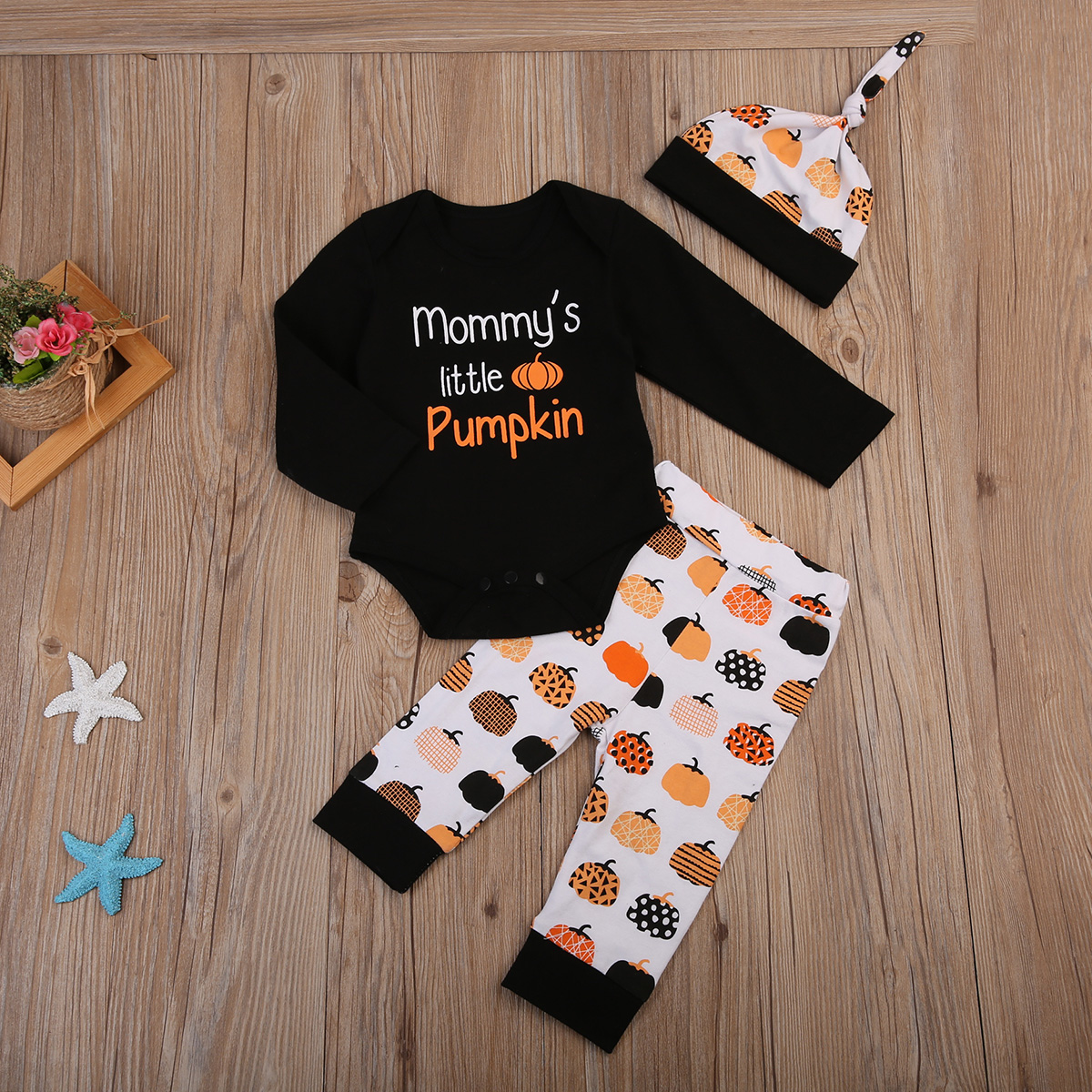 17 Cute Halloween Newborn Baby Boys Girls Winter Clothes Long Sleeve Romper Pants Leggings Cotton Pumpkin Print Outfit 3pcs 3