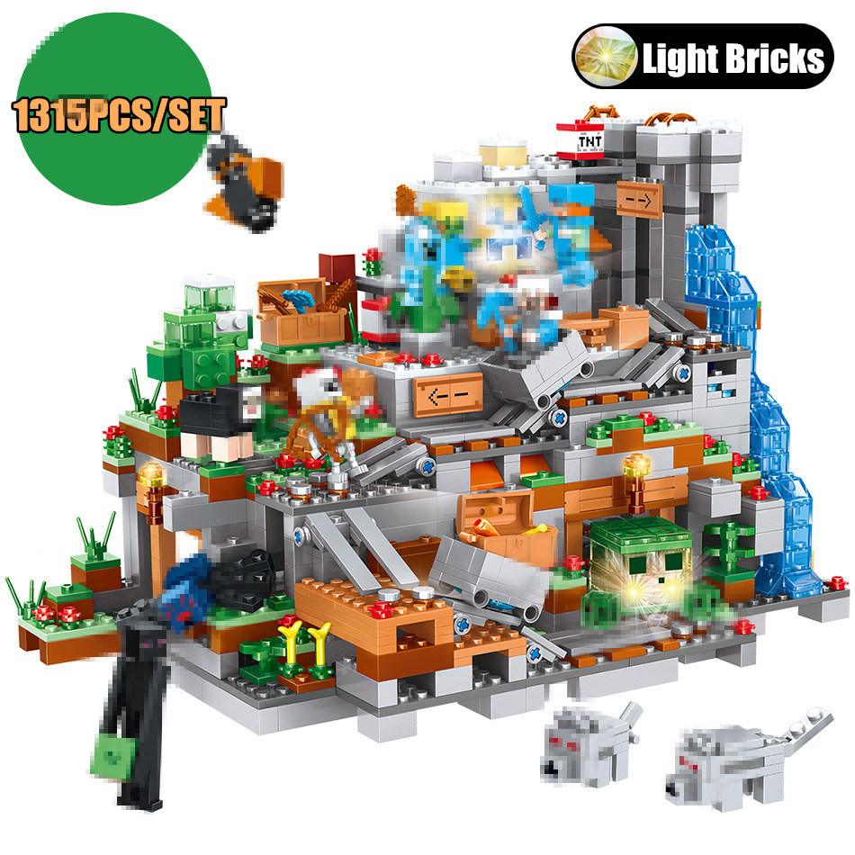 New Mountain Cave Creator Designer fit legoings city Minecrafted Village figures DIY building blocks Bricks Guard Toys gift kid new the mountain cave fit legoings 21137 minecrafted figures city model building blocks bricks kits toy children gift kid