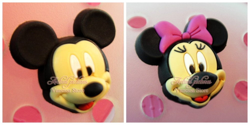 Free Shipping 2pcs Lot 3D MICKEY PVC shoe decoration/shoe charms/shoe accessories  for clogs hyb056-02