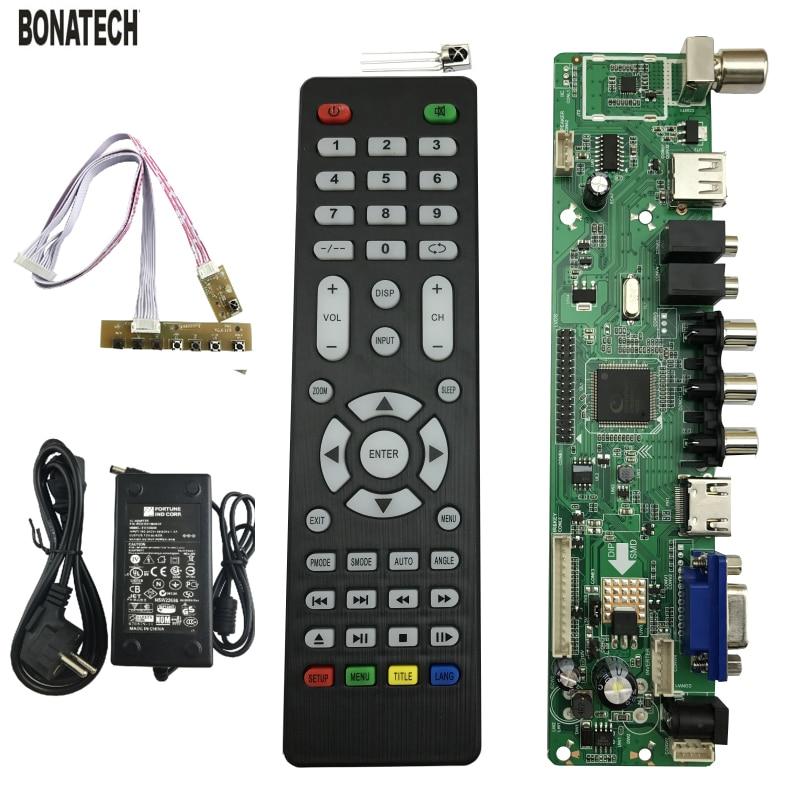 V56 Universal LCD TV Controller Driver Board PC/VGA/HDMI/USB +power Adapter EU +keyboard