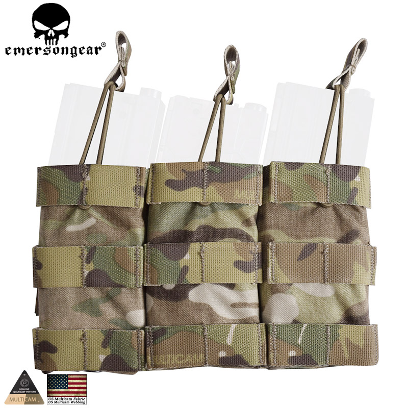 EMERSONGEAR Triple Open Top Mag etui Tactical Modular Magazine Molle etui do polowania Wargame Military Multicam EM6355