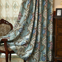 Фотография European luxury jacquard curtains for living room blue shiny drapes for bedroom custom size window panels shade 80% Blinds